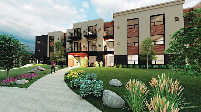 A rendering showing how buildings in the proposed Canyon View apartments would look.
