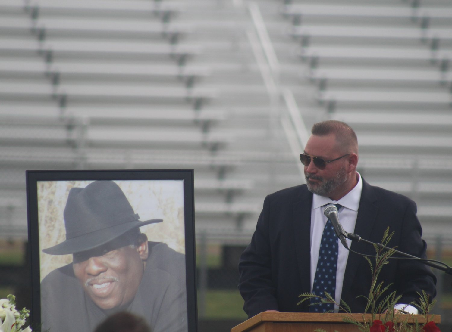 Prairie View High School softball and baseball coach Mark Gonzales remembers his friend and mentor, Nate Thomas, during a celebration of life at PVHS Oct. 8. Howard died late last month.