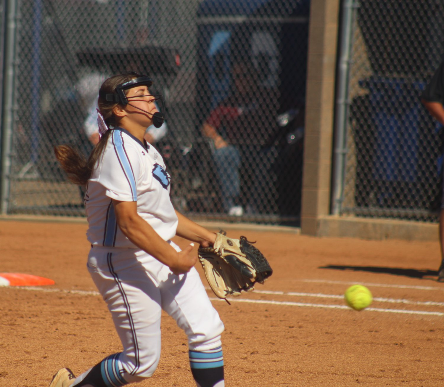 Riverdale Ridge pitcher Brynn Trujillo sends a pitch toward the plate during her team's 11-1 win over Golden Oct. 16 at the class 4A regional tournament that the Ravens hosted.