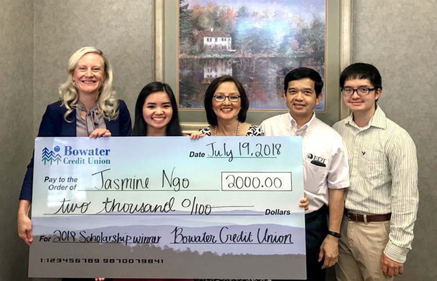 The Bowater Credit Union scholarship was recently award. From left are Kim Gunter, Bowater Credit Union vice president of marketing; Jasmine Ngo, scholarship winner; Bella Ngo, mother; Minh Ngo, father; Austin Ngo, brother.