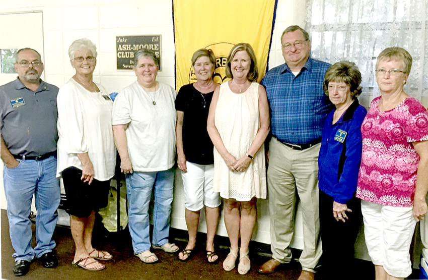 THE JUNE meeting of the Oak Grove Ruritan Club was dedicated to the family of the late Franklin and Lynn Hyberger. The Hybergers were longtime members of the club. The club members and several members of the family shared some touching memories of the couple. From left are James C. Dobbs, club secretary; Virginia Coleman, president; Melissa Hyberger; Leslie Hyberger; Allison and Joe Chancey; Barbara Trentham, vice president; and Connie Dobbs, treasurer.