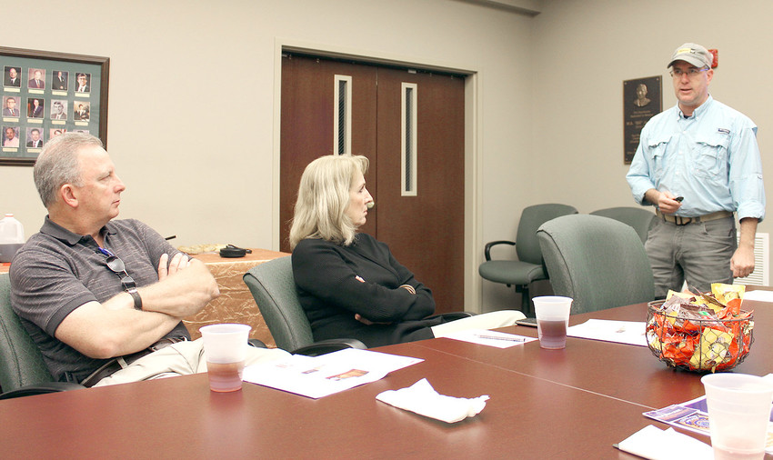 OPIOIDS and their effects on business were discussed during the Cleveland/Bradley Chamber of Commerce's Safety Council meeting Tuesday. Leading the meeting is Scott Elam, standing right.