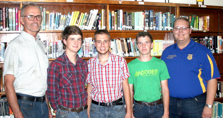THE POLK COUNTY High School's Poultry Judging Team won the state championship for 2018. Team members, and FFA Supervisor Curtis Trew, visited Monday evening's meeting of the Polk County Board of Education. Trew, left, is shown with state champions Evan Carpenter, Brad Hatcher, Ethan Carpenter and Travis Stewart. Stewart is also East Tennessee FFA president.