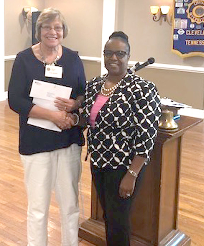 Adonia Latham from First Tennessee Bank recently presented Joan Brown, left, and the Cleveland Civitan Club a donation from the First Tennessee Foundation.  The donation is being used for the Cleveland Civitan All Inclusive Playground Project, located near Stuart School. Handicap-accessible bathrooms have been recently completed. Two pavilions are also part of the plan for this park.