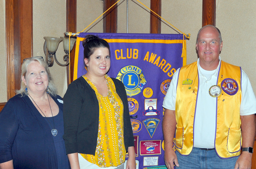 """Jill Hale of MyRide TN Southeast and Lana Little of Signal Centers were guest speakers this week at the Cleveland Lions Club meeting. Hale noted MyRide TN is a volunteer program that provides assisted transportation for older adults. Signal Centers offers services """"focusing on disabilities, early childhood education and self-sufficiency."""" From left are Little, Hale and Lion Eric Gardner."""