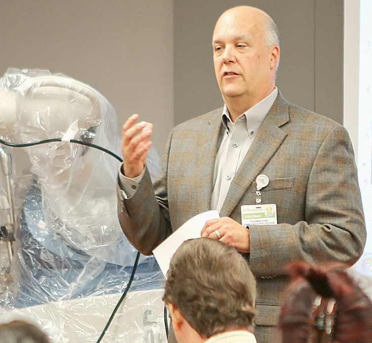 TENNOVA PRESIDENT AND CEO Coleman Foss welcomes the attendees to the healthcare provider's unveiling of its robotic-assisted joint replacement system on Thursday afternoon at Tennova Healthcare.
