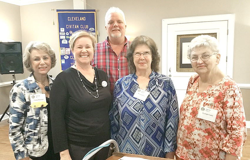 Kelly Browand, Red Cross Community Volunteer lead for Bradley and Polk counties, was the speaker at Cleveland Civitan on Sept. 12. Red Cross has been looking for Disaster Action Team members in our community. If interested please call the Cleveland office at 4213-472-1595. From left are Linda Wheeler, Browand, Lindsey Hathcock, Veronica Fox and Georgia Gann.