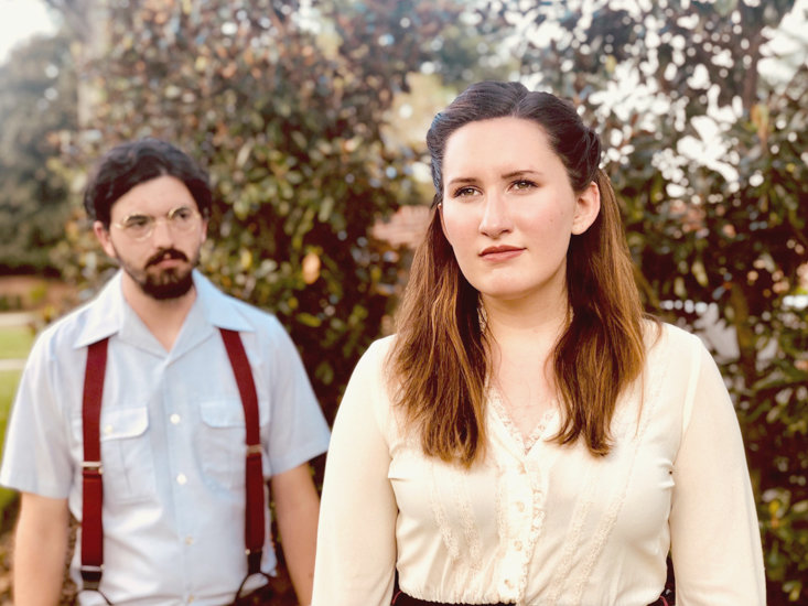 """Sally Talley, played by Emma Riley, and Matt Friedman, played by Scott Rust, are seen here during rehearsal for Lee Theatre production of """"Talley's Folly."""""""