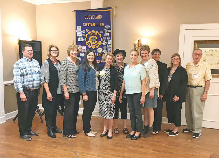Officers for the Cleveland Civitan Club were recently named. They include, from left, Eddie Jones; Teresa Davis; Joan Brown; Kendyl Massey, outgoing Civitan International president; Linda Wheeler; Pam Edgemon; Lee Tate, new president; Rachel Brannen, new president-elect; Lisa Webb; Catherine Rice; and Dave Cummings.