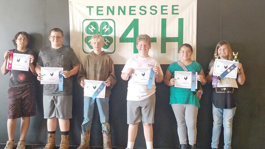 Junior Group poultry participants and their awards include, from left, Zalacye Wilson, Mason Posey, Mark Burger, Jed Pritchett, Aaliah Adams and Kaitlyn Stevenson.