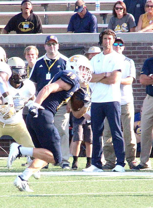 CHATTANOOGA MOCS sophomore wideout Bryce Nunnelly came into the weekend leading the FCS in receiving yards by 120. Nunnelly caught eight passes for 47 yards and a touchdown in a loss to No. 6 Wofford at Finley Stadium, Saturday.