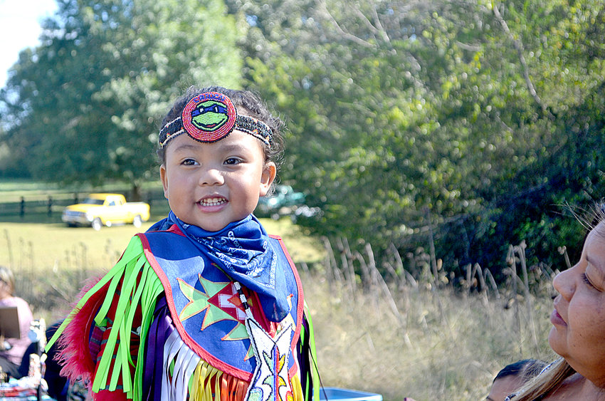 """THREE-YEAR-OLD Caiden Phoenix Tortalita was one of the youngest Native Americans who performed at Saturday's """"Blessing of the Buffalo"""" at the Greg Vital Farm in Georgetown."""