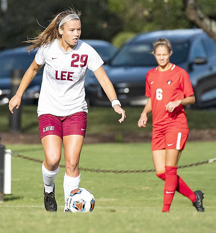 LADY FLAME Kelsey Yoder (29) scored on a penalty kick in Friday's match with CBU.