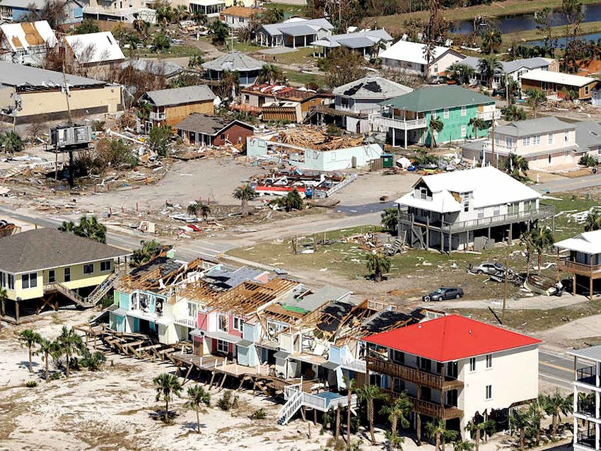 HOMES DESTROYED by Hurricane Michael are shown in this aerial photo on Oct. 11, in Mexico Beach, Fla.