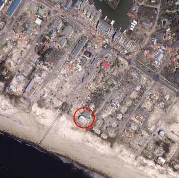 AN AERIAL VIEW shows the devastation surrounding a vacation home co-owned by Dr. Lebron Lackey of Cleveland and his uncle, attorney Russell King, of Chattanooga.