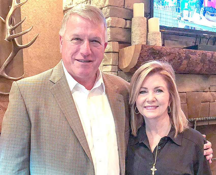 RICHARD BURNETTE, head of the Bradley County Republican Party, posed with GOP Senate nominee Marsha Blackburn, following a breakfast at the Bald Headed Bistro, in Cleveland.