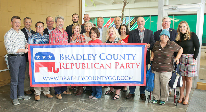 A LARGE GATHERING of local Bradley County Republicans turned on Friday afternoon to mark the official opening of the new headquarters located at the Village Green. The group included Rep. Dan Howell, District Attorney General Steve Crump, Adam Lewis, Sheriff Steve Lawson, John Stanbery, Judge Andrew Freiberg, Richard Burnette, Sen. Mike Bell, Commissioner Milan Blake, Commissioner Erica Davis and others to mark the occasion.