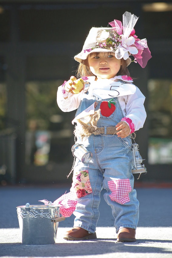 """MAGGIE MAY PICKENS, above, won """"Most Creative Outfit"""" at the 2018 Little Miss Apple Blossom pageant on Sunday at the Apple Festival. At left, """"Best Personality"""" winner Kara Franks blows a kiss to the crowd during the Junior Miss Blossom portion of the fall festival pageant. More photos can be found on Page 14."""