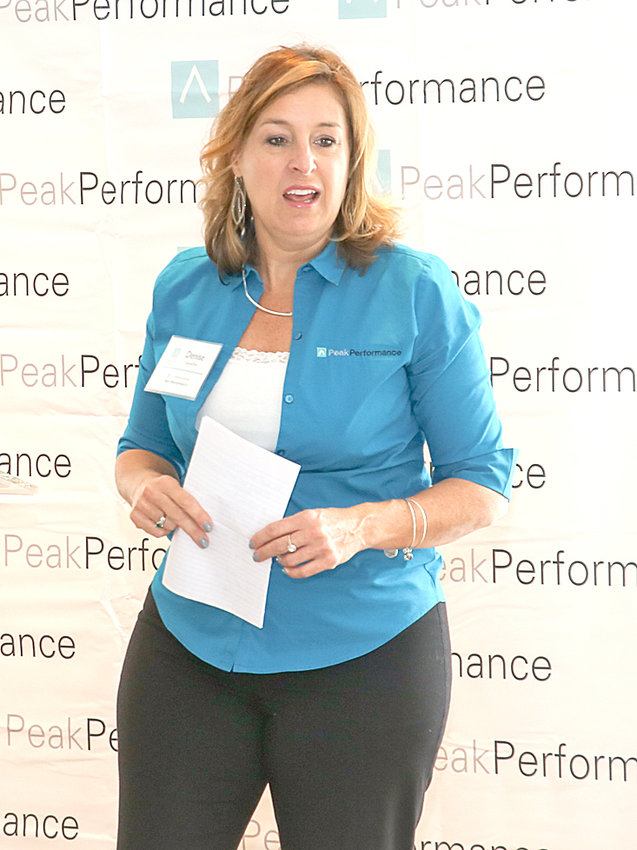 DENISE RICE, president of Peak Performance and director of the Tennessee Manufacturers Association, welcomes attendees to the fourth annual Peak Performance Symposium on Tuesday.