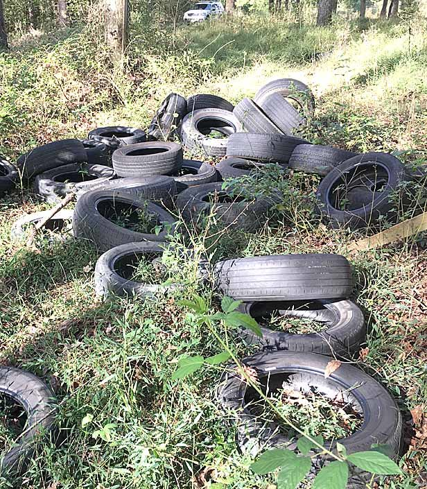 THIS IS ONE of several tire dump sites under investigation by law enforcement authorities. A local man was arrested in connection with dumping tires in south Bradley County, near Spring Place Road. Authorities hope to proceed with prosecuting others illegally dumping tires.