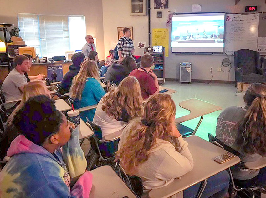 "Students in Josh Justice's economics at Walker Valley High School participate in a video conference with FDIC Chairman Jelena McWilliams. Justice called it a ""wonderful honor and privilege"" for he and his students."