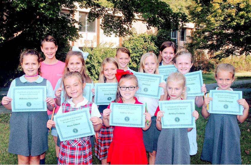 Tennessee Christian Preparatory School Lower School Principal Lacy Laman proudly announced the recent TCPS Responsibility Character Trait winners for October. Congratulations go to front row, from left, Lexi Gilbert, Audrey Shaver, Berkley Freiberg and Ainslee Bancroft; middle row: McKinley Massengill, Lynleigh Massengill, Gracie Gilbert, Ellie Ford and Kayla Lowrance; and back row: Brett Oxford, Caleb Oxford and Olivia Parker.