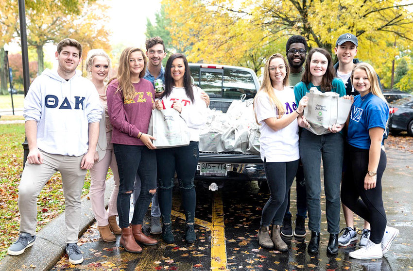 Lee University Greek Club students participating in the food drive, from left,   Ryan Colitz (Theta), Kate Patterson (Sigma and drive coordinator), Hannah Davidson (DZT), Isaac Barrick (Pi), Lydia Thompson (DZT), Neeley Benton (Epsilon), PJ Ricketts (Pi), Kylie Reed (Omega), James Veccio (Theta), and Sarah Martenson (Sigma).