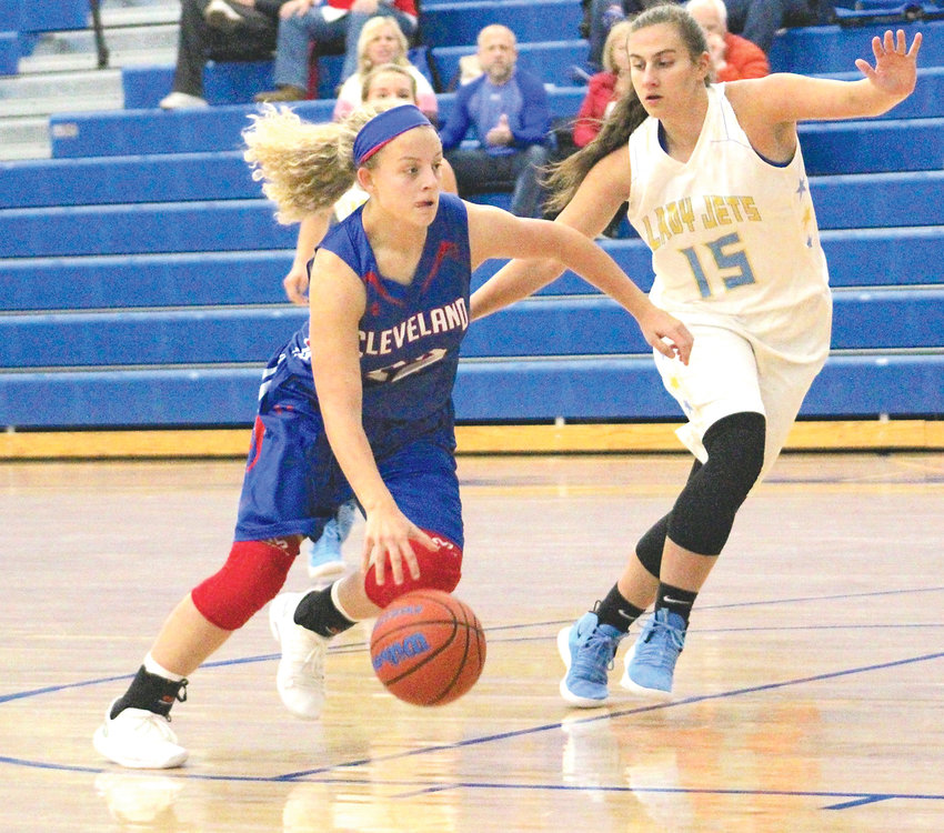 CLEVELAND SOPHOMORE Joy Douglass drives to the hoop in Saturday's Hall of Fame contest against Cumberland County. Douglass scored 17 points over two games.