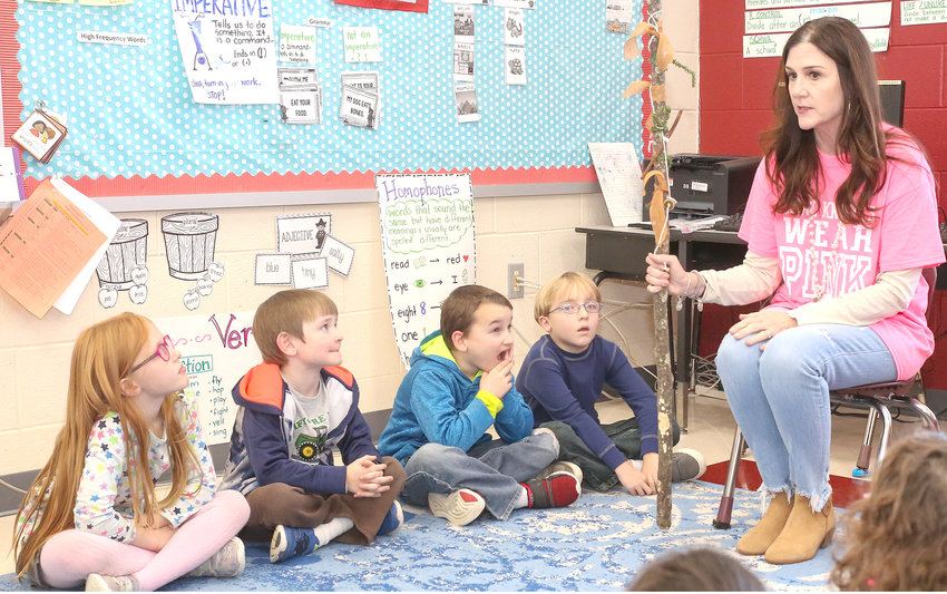 "KAREN ALLEN leads her first-grade class at Park View Elementary School in a ""Thankful Ceremony"" before Thanksgiving break began."