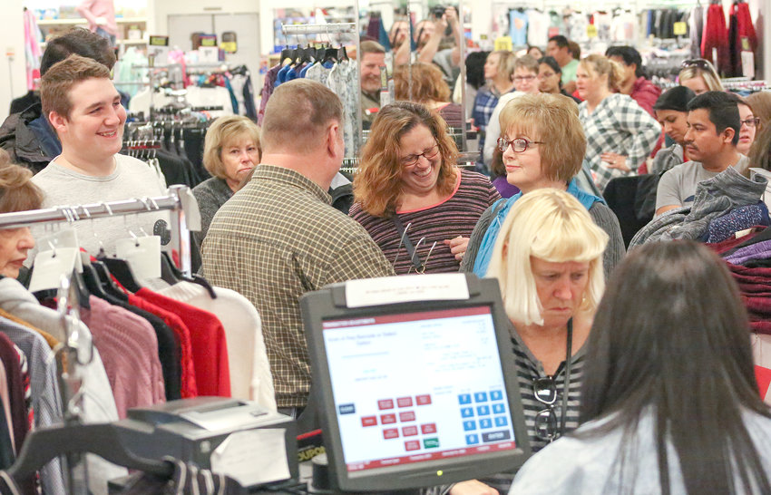 THE LINES WERE LONG at all registers inside Bradley Square Mall's JCPenney location, but most shoppers were in good spirits on Thanksgiving Day as Black Friday got off to an early, early start in the Cleveland and Bradley County community.