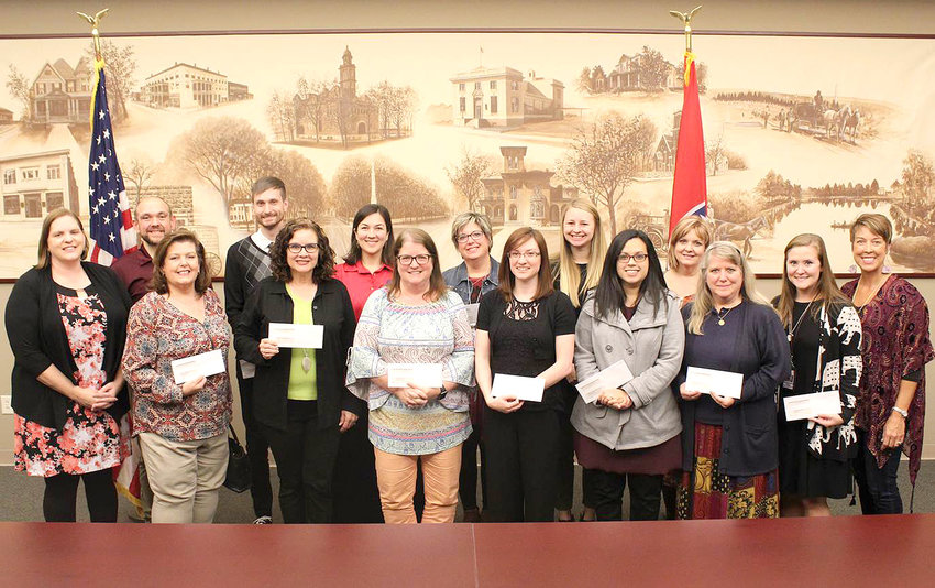 Representatives from the Cleveland and Bradley County school systems, and private schools, accepted nearly $15,000 in grant money from the Arts in Education Committee of the Cleveland/Bradley Chamber of Commerce. Funds were raised from the April 2018 Chair-ries Jubilee annual benefit, spearheaded by the Allied Arts Council.