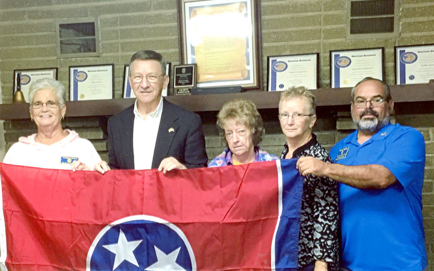 State Rep. Dan Howell and Bradley County Trustee Mike Smith were the guest speakers for the November meeting of the Oak Grove Ruritan Club. Howell presented the club with a new state flag to display at the club house. Smith talked about the county's tax incentive programs, which offers county taxpayer chance to offset the burdens of paying property taxes. From left are Virginia Coleman, club president; Howell; Barbara Trentham, club vice president; Connie Dobbs, treasurer; and James Dobbs, secretary. In bottom photo are, from left, James Dobbs; Connie Dobbs; Beverly Howell, Howell; Smith; Coleman and Trentham.
