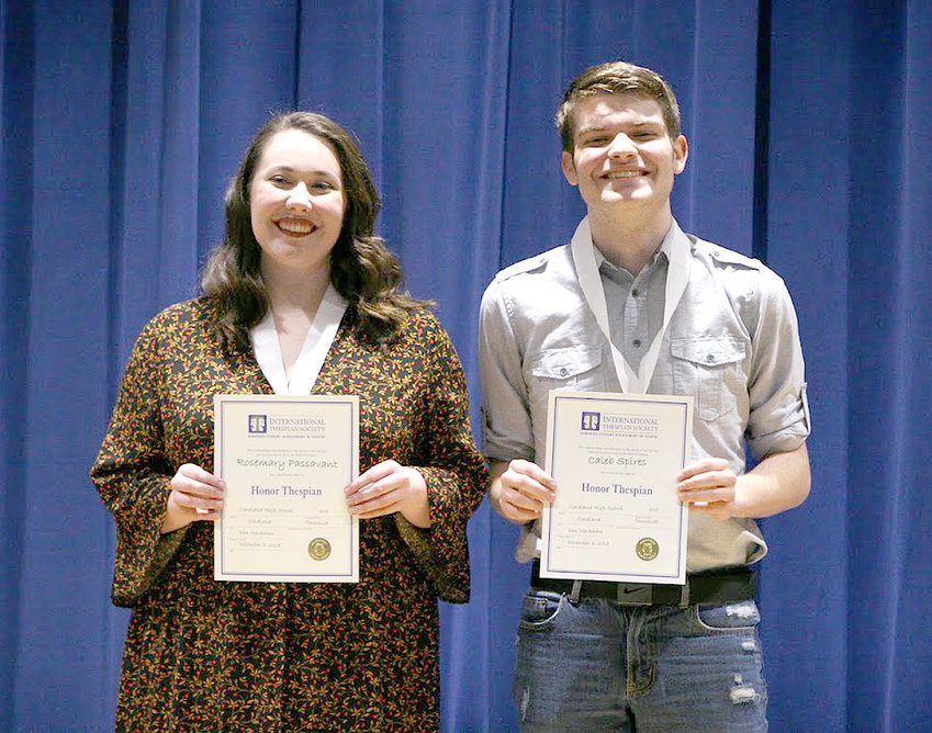 Caleb Spires and Elizabeth Passavant were recognized as Honor Thespians for completing 600 hours in theater work.