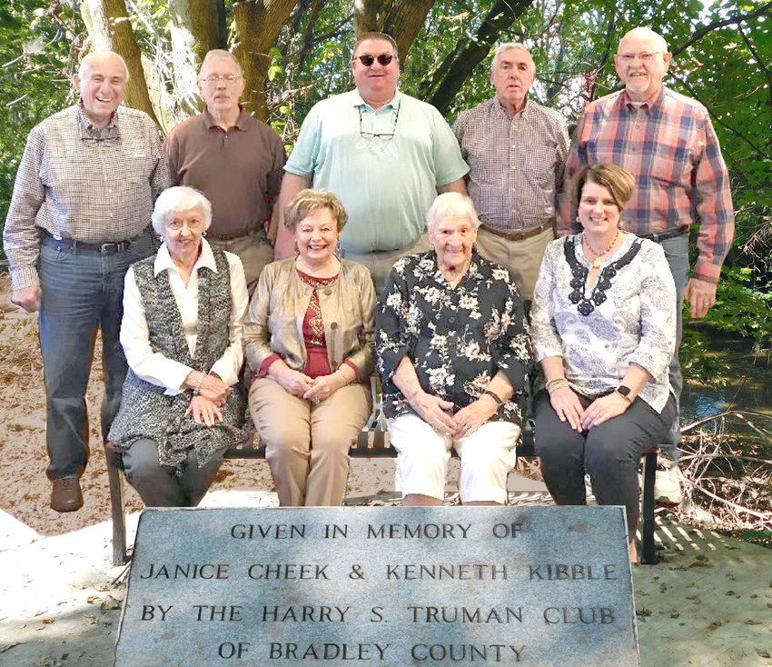 HARRY S. TRUMAN CLUB OF Bradley County made a donation of $2,000 in memory of Janice Cheek and Kenneth Kibble. The gift funded the installation of a bench on the newest section of the Cleveland/Bradley County Greenway. Cheek, longtime director of the local office of the Tennessee Department of Employment and Security, was a member of the City Shade Tree Board and an artist and patron of the local arts. Kibble was a member of the old Bradley County Quarterly Court and a prominent member of the Tasso/Charleston communities. He was a farmer, cattleman and builder by profession. The club is a local, nonprofit that promotes good citizenship, acknowledges civic leadership and supports worthy local causes and projects. From left, seated, are Mildred Sparkman, Gloria Smiddy, Jiggs Mullinax and Ginger Buchanan; standing are Zane Harris, Charlie Corn, Beebo Harris, Mike Callaway and Doug Pirkle.