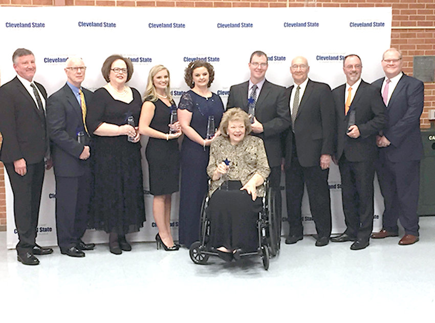 The 2018 Community First Award winners were, from left, Roger Pickett, business; Rodney Fitzgerald and Margo Fitzgerals, philantrophy; McKensie Morgan, student leadership; Carmen Choat, education; Connie Gatlin, front, arts; Matt Ryerson, nonprofit leadership; Dr. William Johnson, health care; state Sen. Bob Bell, public service; and Kelvin Bishop, volunteer leadership.