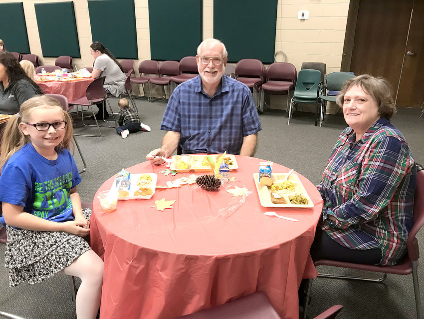 Blythe-Bower Elementary had a busy November filled with many activities.  Here, Ken and Sheryl Pugh enjoy Thanksgiving lunch with granddaughter Jaylen Lynn.    Contributed photo