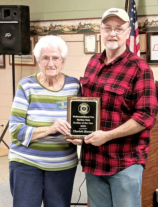 The McDonald/Black Fox Ruritan of the Year award was given to Charlotte Howard. She has spent many years to help better the community with the club. From left are Charlotte Howard and Ruritan President David Swafford.