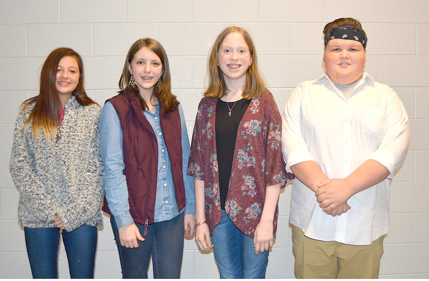Lake Forest Middle School eight-grade poetry winners included, from left, Kylie Ehlers (second place) Original; Chandler Mills (first place) Original;  Lillian Rogers (first place) Performance and Jake Letner (second place) Performance.