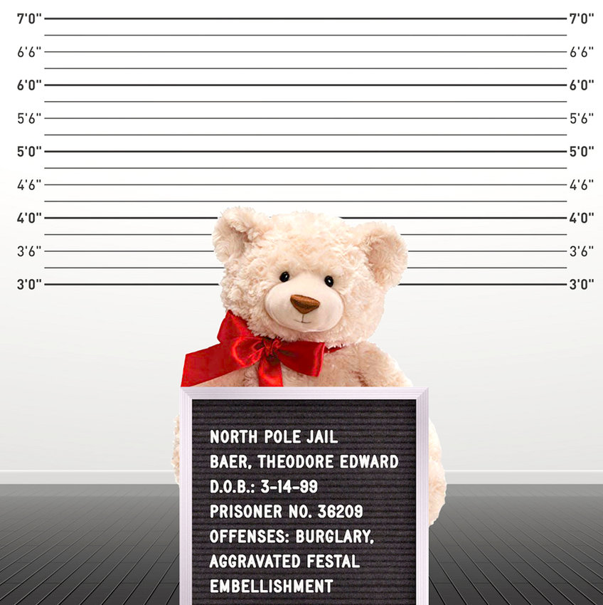 THEODORE EDWARD BAER, also known as Ted E. Baer, is shown in this mugshot from a prior arrest. The large teddy bear is wanted for his involvement in a Christmas cookie crime ring.