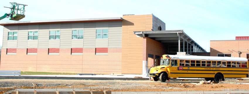 THE MAIN ENTRANCE of the future Candy's Creek Cherokee Elementary School is shown in this December photo. Workers are on track to finish construction by March, says Cleveland City Schools Director of Operations Hal Taylor.