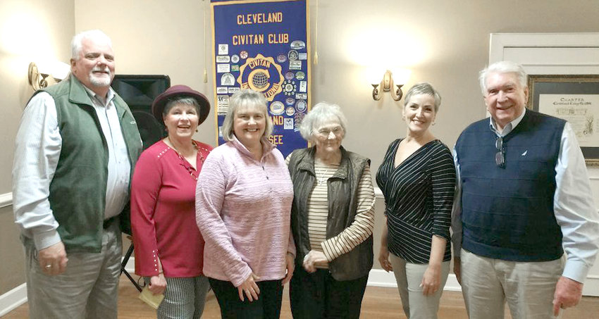 DONNA SIMPSON, Bradley County clerk, was the guest speaker at the most recent Cleveland Civitan meeting. She spoke on the new technology at the Courthouse and steps the public can take to obtain various licenses from Bradley County. From left are Lindsay Hathcock, Pam Edgemon, Simpson, Betty Avery, Lee Tate and Jim Edgemon.