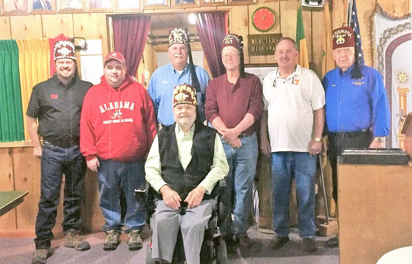 CLEVELAND SHRINE CLUB has installed officers for 2019. They include, front, Past Potentate Stanley Wagner, chaplain; from left, Allen Hall, installing officer; Mark Bandy, second vice president; Rick Simpson, first vice president; Bobby Cissom, president; Carson Lawson, club director; and Herb Stafford, secretary and treasurer.