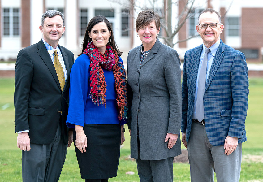 Beverly Phillips Johnson has been named the community chair of the Great Strides event. From left  are Dr. Bill Estes, Vanessa Hammond,  Johnson and Dr. Mike Hayes.