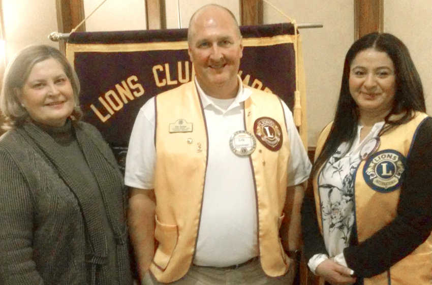 SHERRY HOLLOWAY, Service Learning director at Cleveland State Community College, was the guest speaker this week at the Cleveland Lions Club meeting. From left are Holloway, Lions President Erik Gardner and Lion Brianca Baker.