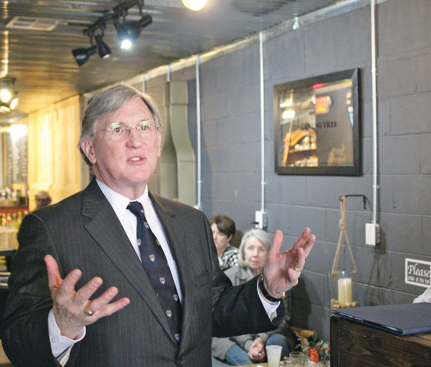 FORMER TENNESSEE Supreme Court Justice William C. Koch Jr. speaks to members of the Bradley County Bar Association about the need for additional funding for the criminal justice system in Tennessee. Koch, who retired from the state high court in 2014, is currently the dean of the Nashville School of Law.