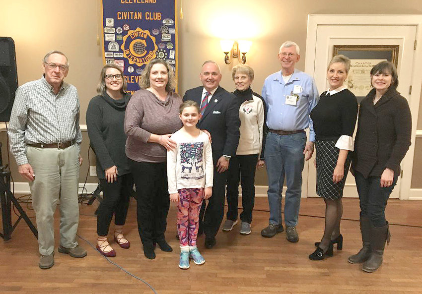 CLEVELAND MAYOR Kevin Brooks gave his State of the City report to the Cleveland Civitan Club at the recent meeting. From left are Dave Cummings, Kelsey Hall, Rita Hyanie, Samantha Haynie, Brooks, Joyce Covington, Phil Brown, Lee Tate and Dr. Tammy Johnson.