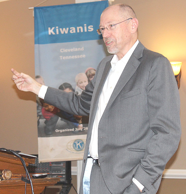 BRINGING CLEVELAND Kiwanis Club members up to date on economic developments, and prospects, in the community at a recent Kiwanis Club luncheon at the Elks Lodge was Chamber Vice President for Economic Development Doug Berry.