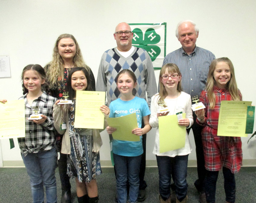 The Bradley County 4-H Sub County Public Speaking contests for fourth- and fifth-graders were held Feb. 1 at Cleveland State Community College. The winners will advance to the county contest on March 1. Bradley County 4-H Sub County Public Speaking winners for fourth grade were, from left front, Grace Dauphinais and Kadence Guyton from Hopewell Elementary; Mara King from Black Fox Elementary; Jayce Trantham from Michigan Avenue Elementary and Laney Copeland from North Lee Elementary.  Judges, back, were Katie Bishop, Andrew Hunt and Jim Lane.