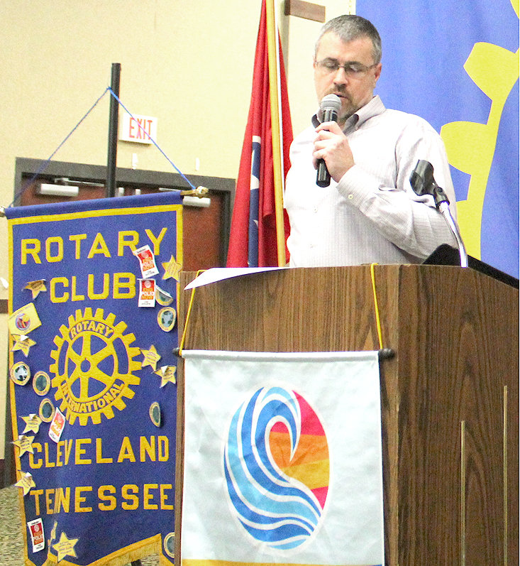 ROTARY CLUB OF CLEVELAND Foundation chairperson Byron Winters tells fellow Rotarians that the foundation will focus funding efforts on initiatives such as literacy, economic development and water sanitation.