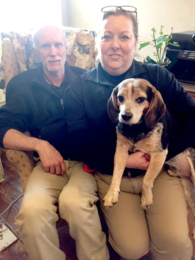 After seeing Bandit, a 4-year-old beagle, on the Ark's social media, Jolee Keefer came to visit him. She returned several times and spent bonding time with Bandit to make sure he was a good fit. Adam came with her and the couple made Bandit one of their fur kids.